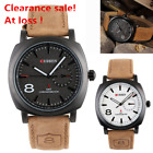 New Men's Watches Sport Men Military Leather Strap Wrist Quartz Watch Bracelet image