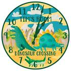Personalized Dinosaur Themed Childrens Room Wall Clock from KDL