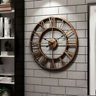 3D Circular Retro Roman Wrought Hollow Iron Vintage Clocks Mute Home Decor