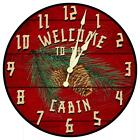 Rustic Red Welcome Cabin Wall Clock from KDL