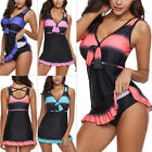 Plus Size Women Ladies One Piece Swimdress Swimsuit Swimwear Push Up Padded Bra