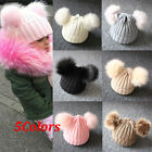 US Newborn Kids Baby Boys Girls Fur Pom Hat Winter Warm Knit Bobble Beanie Cap