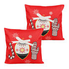2X Christmas Decoration Pillow Covers Xmas Buffalo Plaid Reindeer Sofa Couch Bed