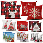 2X Christmas Decoration Pillow Covers Xmas Buffalo Plaid Reindeer Sofa Couch Bed image