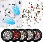 AB Color Gems Nail Rhinestones Flat Back Heart Round Multi Size 3D Nail Tips