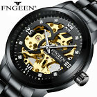 New FNGEEN Men's Skeleton Stainless Steel Automatic Mechanical Sport Wrist Watch image