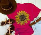 Women Sunflower Rising T Shirt Plain Shirt Flower T shirt