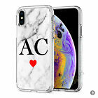 Initials Phone Case Personalised Marble Hard Cover For Apple iphone 8 X 11 046-9