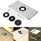 Aluminum Router Table Insert Plate with Insert Rings for Woodworking Benches
