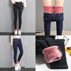 Womens Warm Stretchy Jeans Fleece Lined Denim Pant Thermal High Waist Trousers
