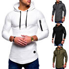 Mens Slim Fit Hooded Hoodie Long Sleeve Muscle Tops Sport Gym Shirts T-shirt Tee image