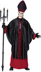 Mens Deluxe Devil Pope Scary Halloween Catholic Fancy Dress Costume Outfit M-XL