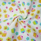 100% Brushed Cotton Winceyette Flannel Fabric Cute Heart Cupcake Floral Flower
