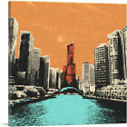 ARTCANVAS Chicago City Pop Art Painting Home Decor Square Canvas Art Print