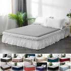 """16"""" Drop Bed Skirt Elastic Dust Ruffle Easy Fit Wrap Around Bed Soft Queen Size"""