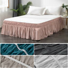 MOHAP Elastic Bed Ruffle Skirt Easy Fit Wrap Around 16'' Drop Queen Pink Gray image