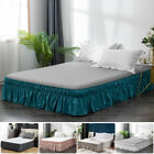 16'' Drop Bed Skirt Plain Dressing Dust Ruffle Queen Size Wrap Around Bed Solid image