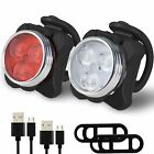 Bike Lights USB Rechargeable Cycling Bicycle Head Front Rear Set Clip Light LED