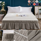 """Mohap Elastic Dust Ruffle Bed Skirt Easy 16"""" Drop Fit Wrap Around Soft Queen Bed image"""