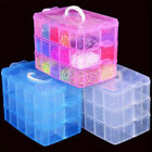 3 Layers 18 Grids Clear Storage Box Container Jewelry Bead Organizer Case Sanwoo