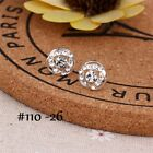 925 Sterling Silver Stud Earrings Sparkly Stones Fashion Studs Womens Girls