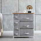 Fabric Bedside Table Sofa Side Cabinets Storage Unit Metal Frame Chest of Drawer