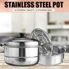 3 Layer Stainless Brace Steamer Set Pan Soup Cook Pot Steam Cooker With Lid