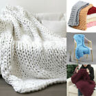 Large Luxury Hand Chunky Knitted Throw Blanket Mink Warm Over Bed Bedspread New image