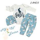 My 1st Easter Newborn Baby Boy Girl Rabbit Romper Pants Hat Cotton Outfit