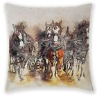 18* Horse Pattern Cotton Linen Pillow Case Sofa Waist Cushion Cover Home Decorr