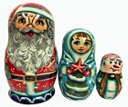 Santa with Snow Maiden Snowman 3 Piece Russian Wood Nesting Doll Stacking Dolls