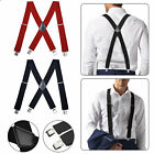 Mens Women Elastic Suspenders Leather Braces X-Back Adjustable Clip-on Black