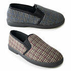 SlumberzzZ Mens Houndstooth Print Fleece Lined Slippers