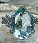6ct Tear Aquamarine Gothic Floral Filigree Sterling Silver Ring Made To Order