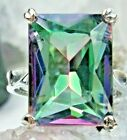 Sim Mystic Topaz Rect Sterling Silver Vintage Design Filigree Ring Size: Any/MTO