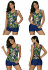 Crazycatz Tankini Set Top Short Blue Green Pink Floral XL 14 16 Padded Tropical