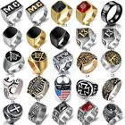 Vintage Style Mens Stainless Steel Gothic Masonic Biker Ring Jewelry Size 7-17