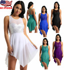 Women Sleeveless Sequins Ballet Dance Leotard Lyrical Dress Ice Skating dress