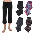 Women's Sleepwear Capri Pajama Pants Sleep Capris Cropped Lounge Bottoms S-3X
