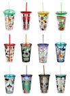 Double Walled Plastic Cup With Lid & Straw Travel Hot Cold Drinks Insulated NEW