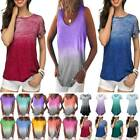 Plus Women Gradient Short Sleeve Loose T Shirts Tank Tops Baggy Blouse Tunic Tee