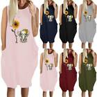 Women's 3D Print Sleeveless T-shirt Dress Summer Casual Loose Tank Top Plus Size