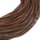 Внешний вид - 15ft Saddle Brown Genuine Round Cowhide Leather Cord Bracelet String 3 Sizes