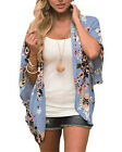 UK Womens Floral Cardigan Ladies Bell Sleeve Kimono Summer Cover Up Tops Size