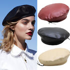 Women Fashion Beret Solid PU Leather Beret French Artist Warm Beanie Hats
