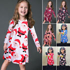 Kids Girls Santa Elf Printed Long Sleeve Casual A-Line Swing Dress Long T-shirt