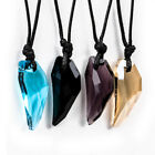 Boy Girl Lovers Fashion Necklace Black Cord Wolf's Tooth Crystal Pendant Jewelry