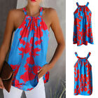 Women's Summer Vest Sleeveless Floral Polyester Printed Halter T-Shirt O-Neck