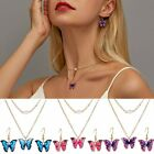 Fashion Butterfly Enamel Choker Necklace Pendant Earrings Jewelry Set Wedding image