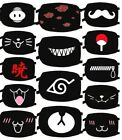 Cloth Face Mask Cartoon Anime Funny Expression Cotton Washable Reusable Black